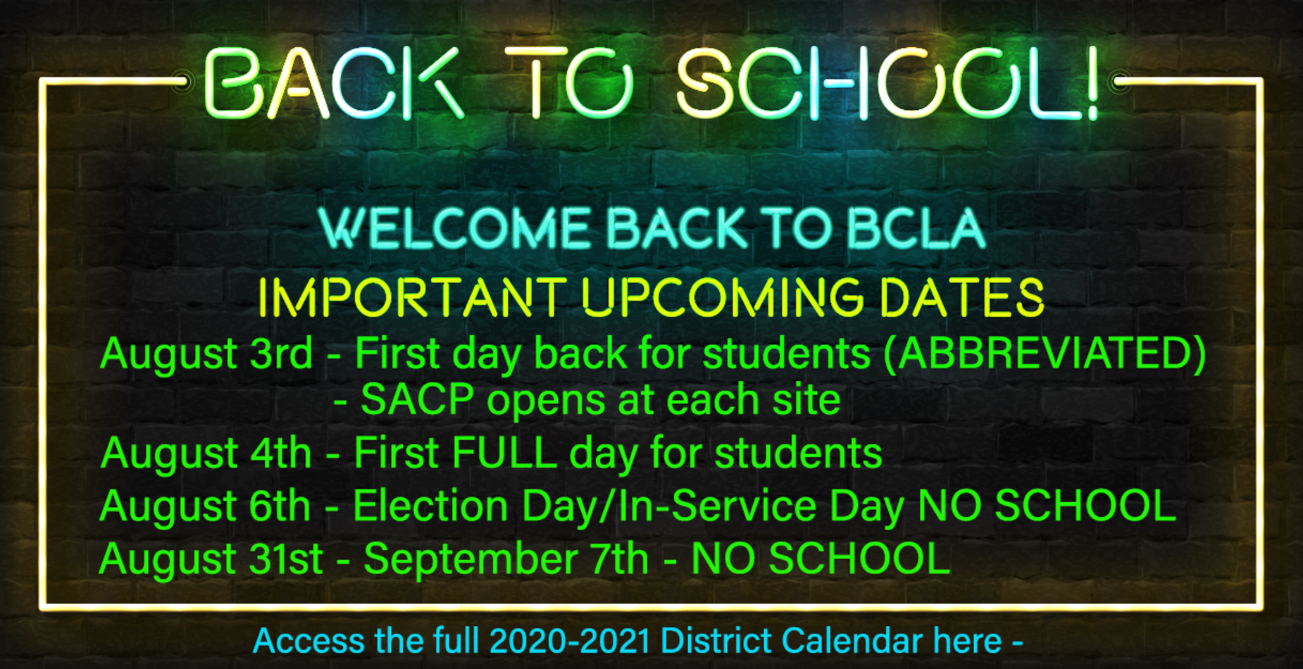 Bedford County Tn School Calendar 2021-2022 Bedford County Learning Academy