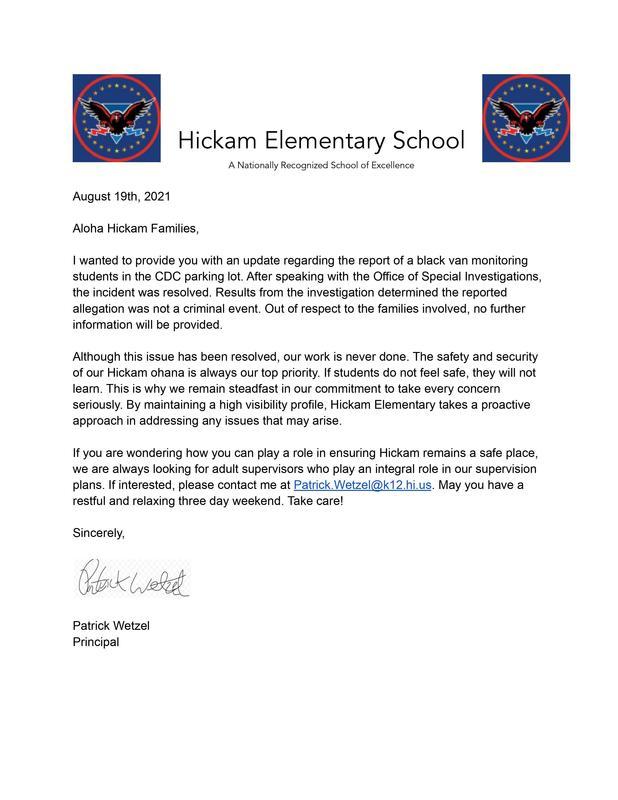 Parent Letter 08/19/2021 Featured Photo