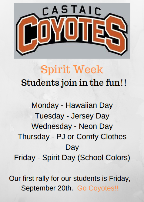 Spirit Week Announcement