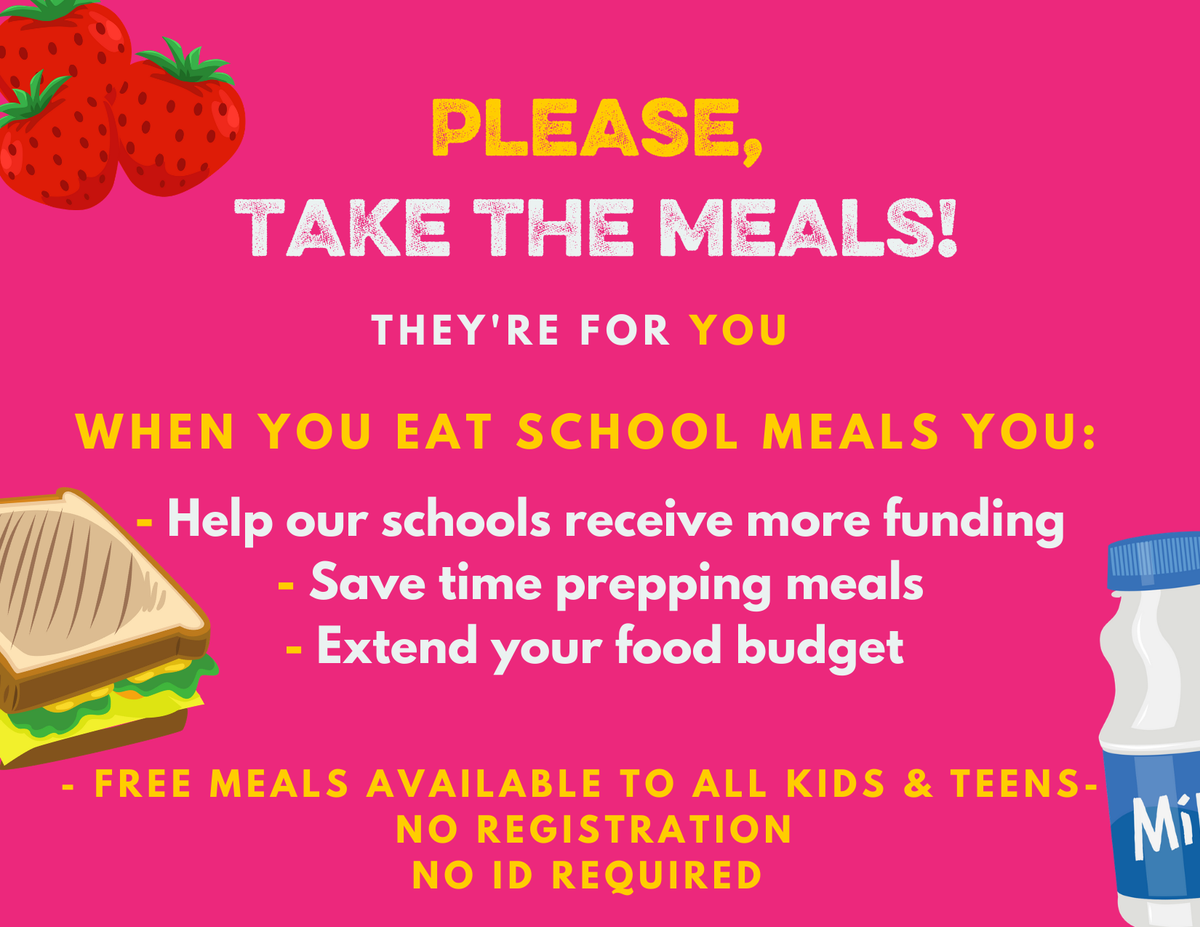 Flyer, text against a pink background with clip art of a sandwich and a bottle of milk