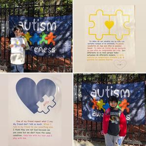 2 students in front of autism signs and assignments collage
