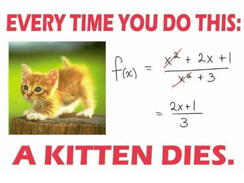 Every time you improperly 'cancel' within a fraction, a kitten dies
