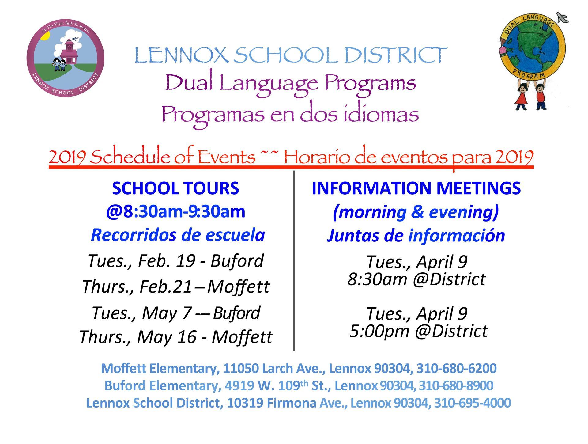 Dual Language Tour Schedule