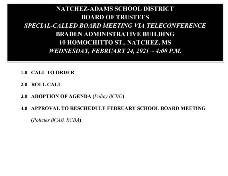 2/24/21 Board Meeting Agenda