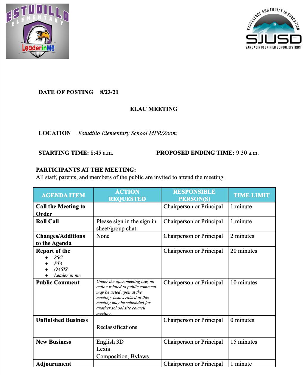ELAC Agenda 8_26_21