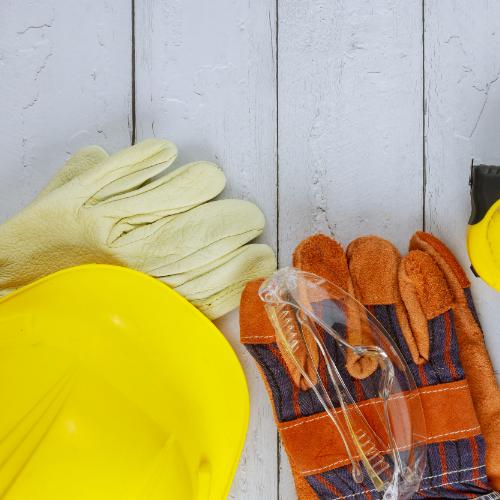 Hardhat, gloves and toolbelt