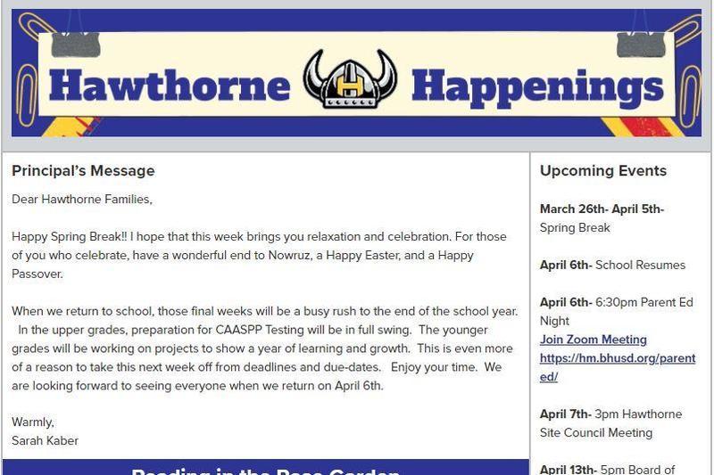 Hawthorne Newsletter