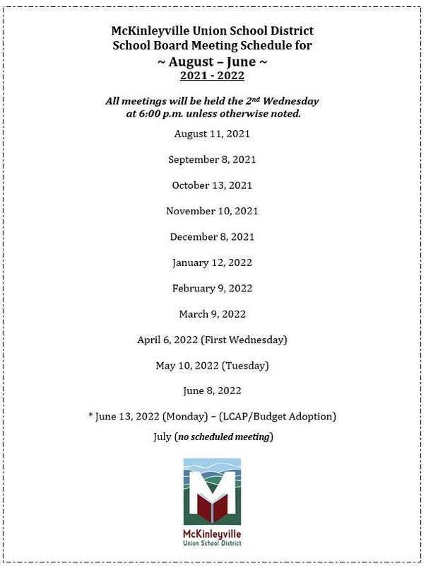 MUSD Board Meeting Dates - 2021-22