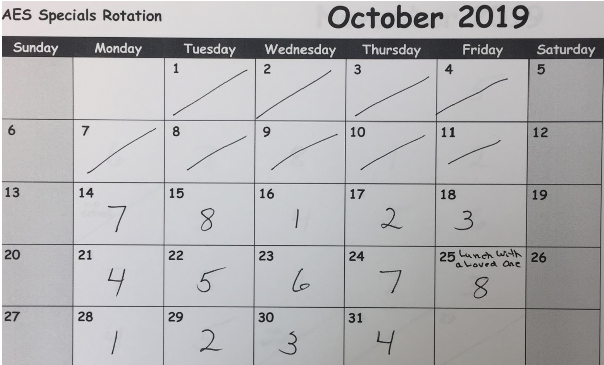 October Specials Rotation Calendar