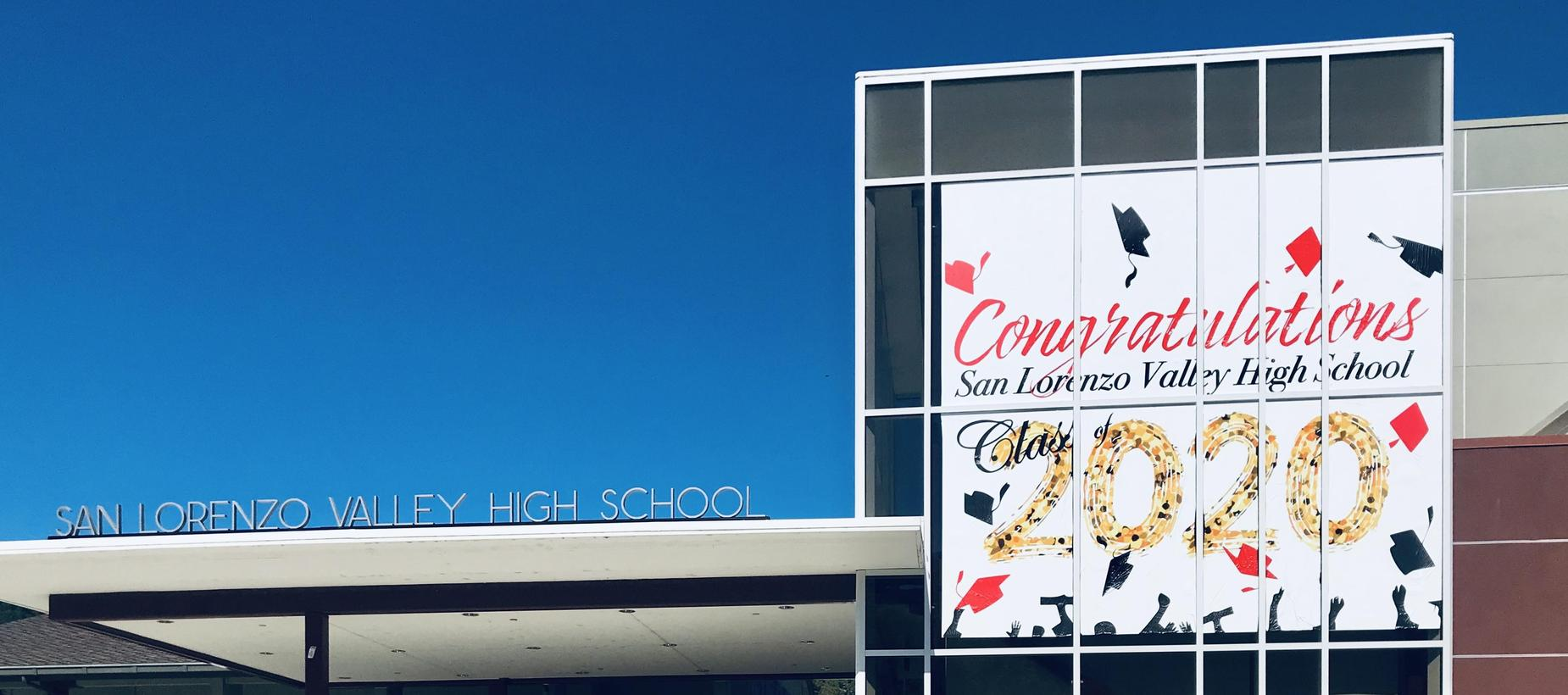 School building and billboard
