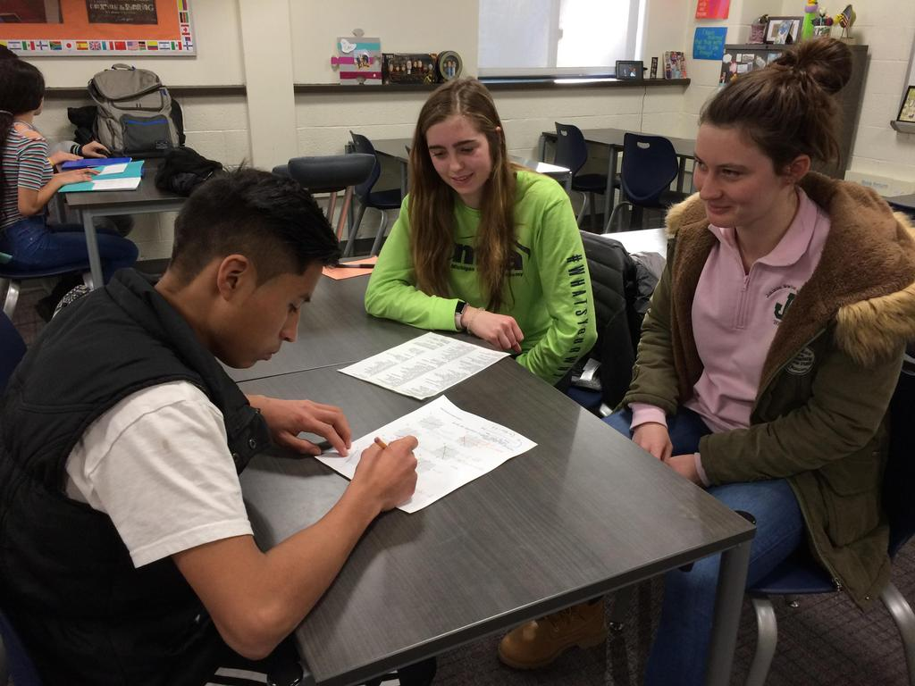 Some of our EL students receive tutoring from Jenison HS AP Spanish students, and in turn, they get to practice using their Spanish with native Spanish speakers.