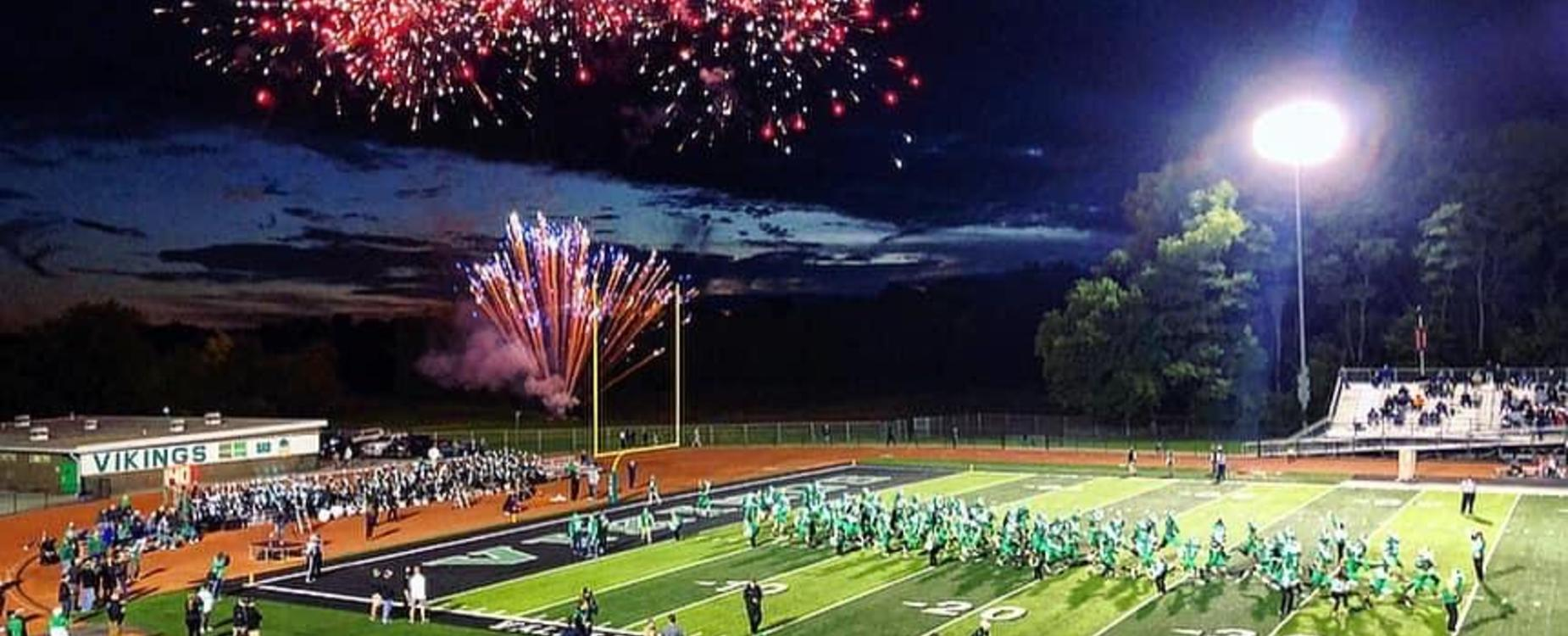VHS Football Field with fireworks