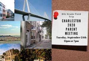 Charleston 2020 8th grade field trip parent meeting