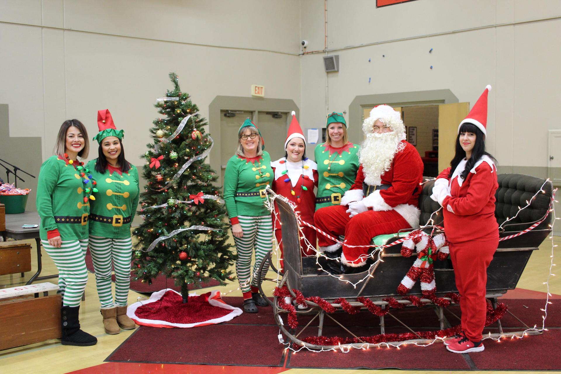 Ms. Almanzar, Ms. Ramirez, Mrs. Seals, Mrs. Vantassel, Ms. Chapman, Santa, Dr. Plascencia