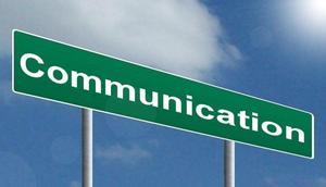 pic of street sign with the word communication