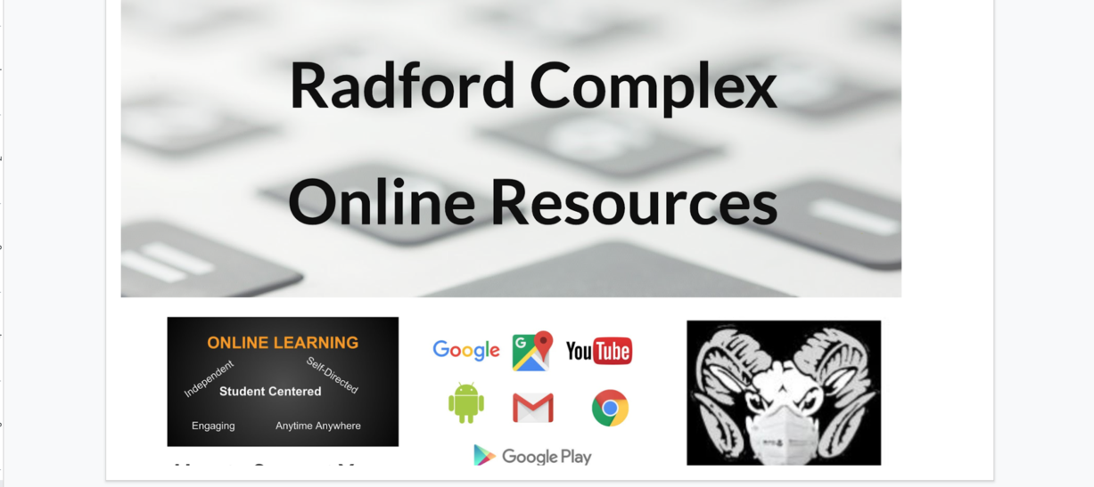 Radford online resource links with an image of computer keys and a ram with a mask.