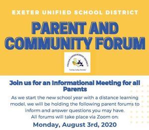 EUSD parent and community forum flyer