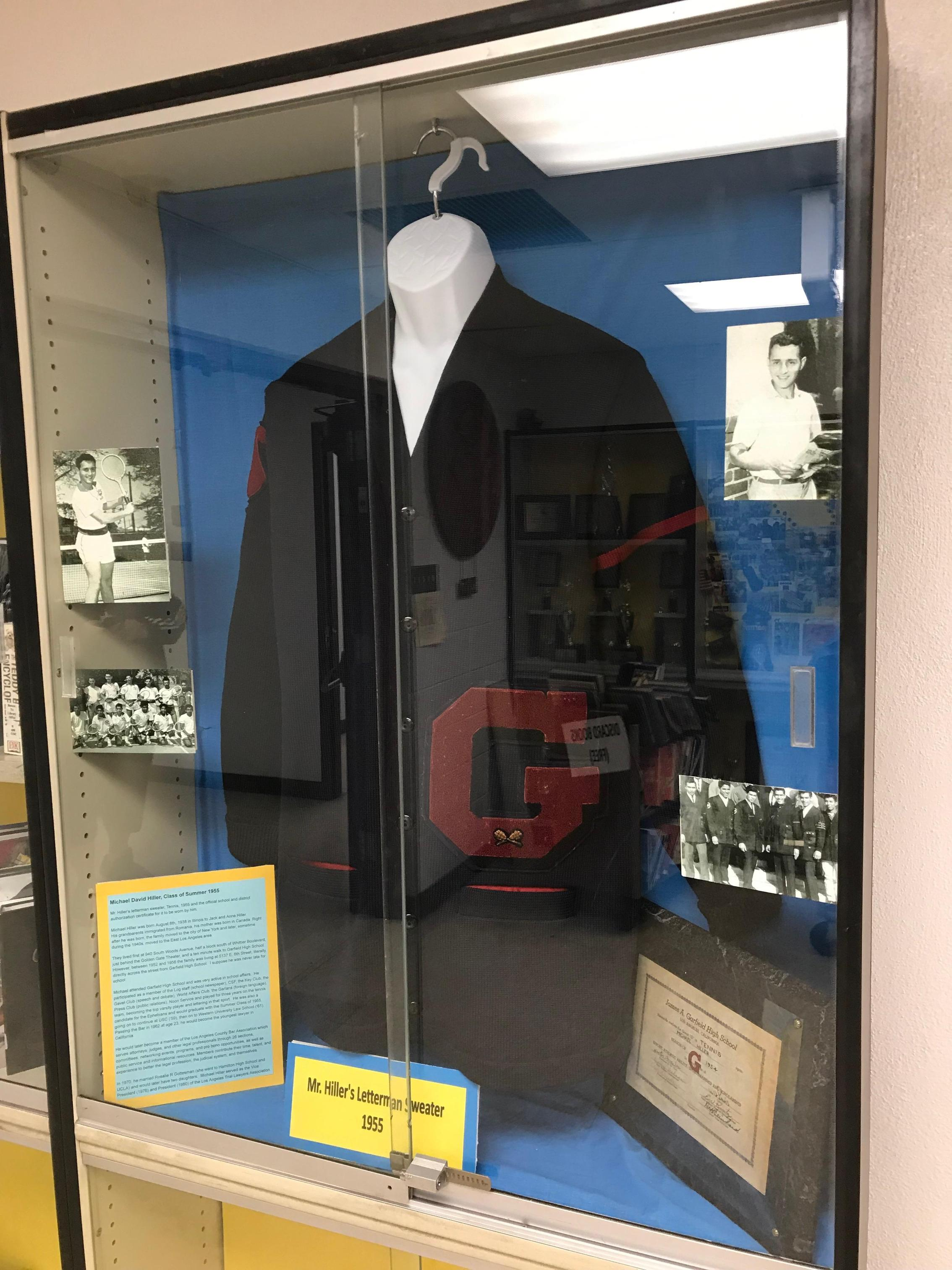 Letterman sweater on display