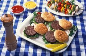 clip art of picnic blanket and burgers representing summer feeding program