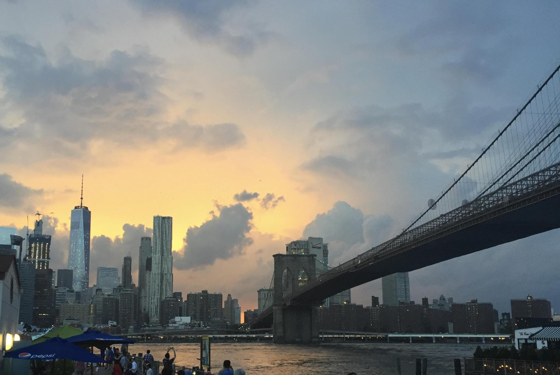 sunset view of Brooklyn Bridge from Brooklyn