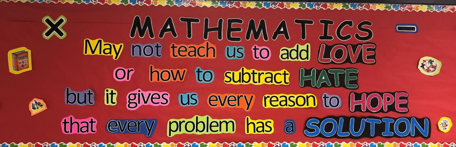 Photo of mathematics bulletin board.