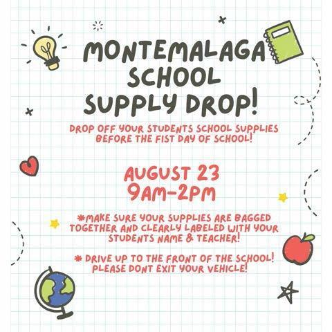 School Supply Drop on Monday, August 23rd 9 am to 2 pm