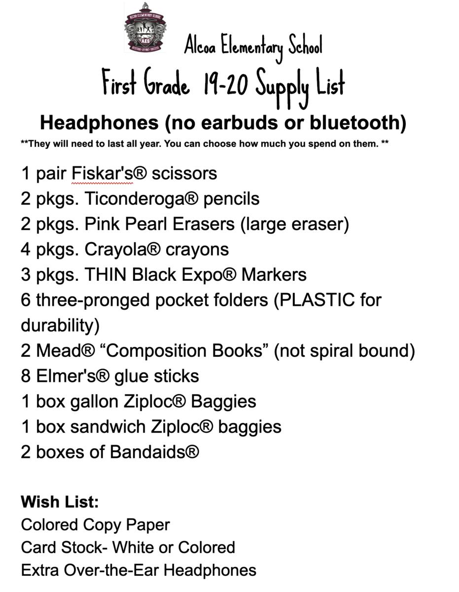 first grade supply list 2019-20
