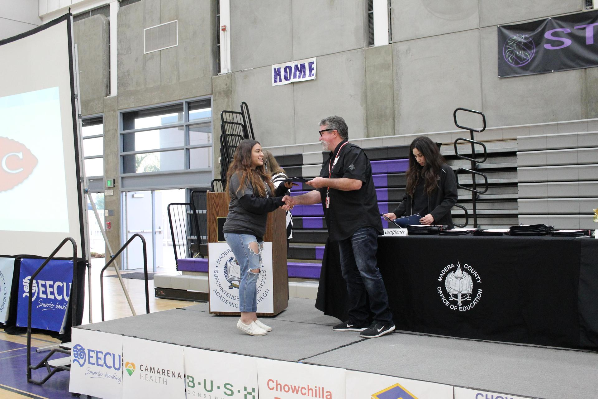 Yesenia Sanchez gets participation award from CUHSD Superintendent Ron Seals