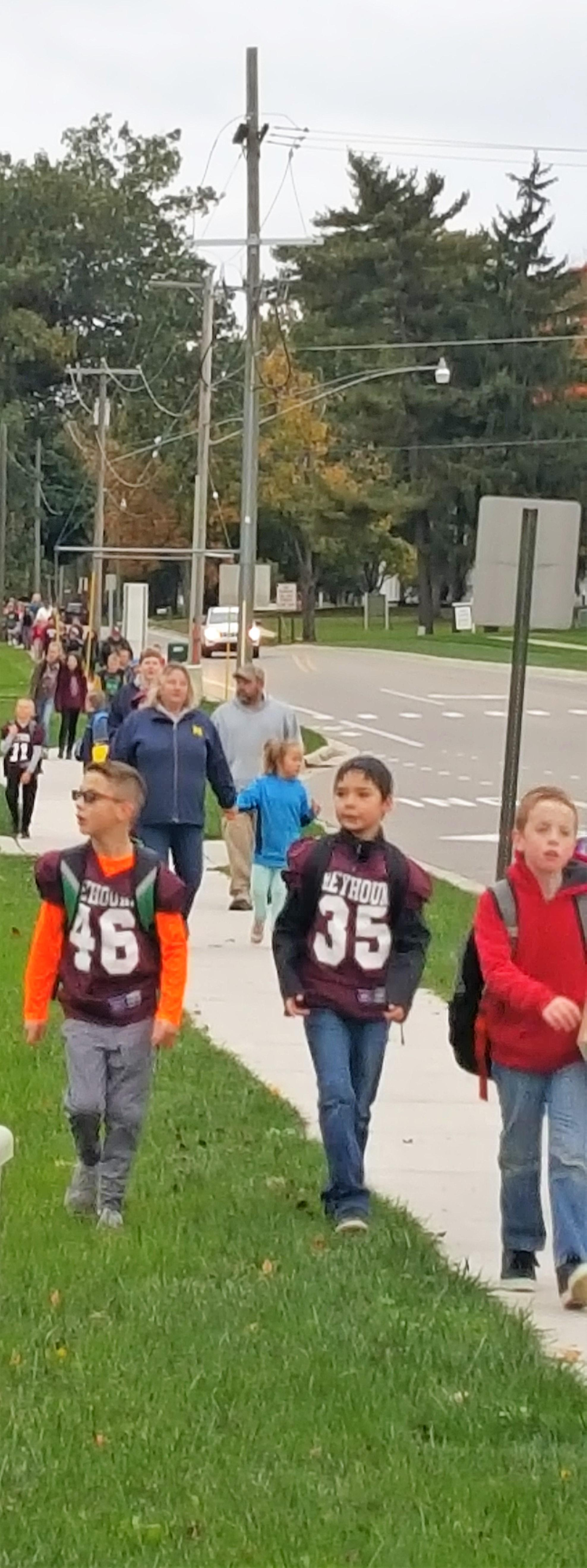 Photo of kids on walk to school day