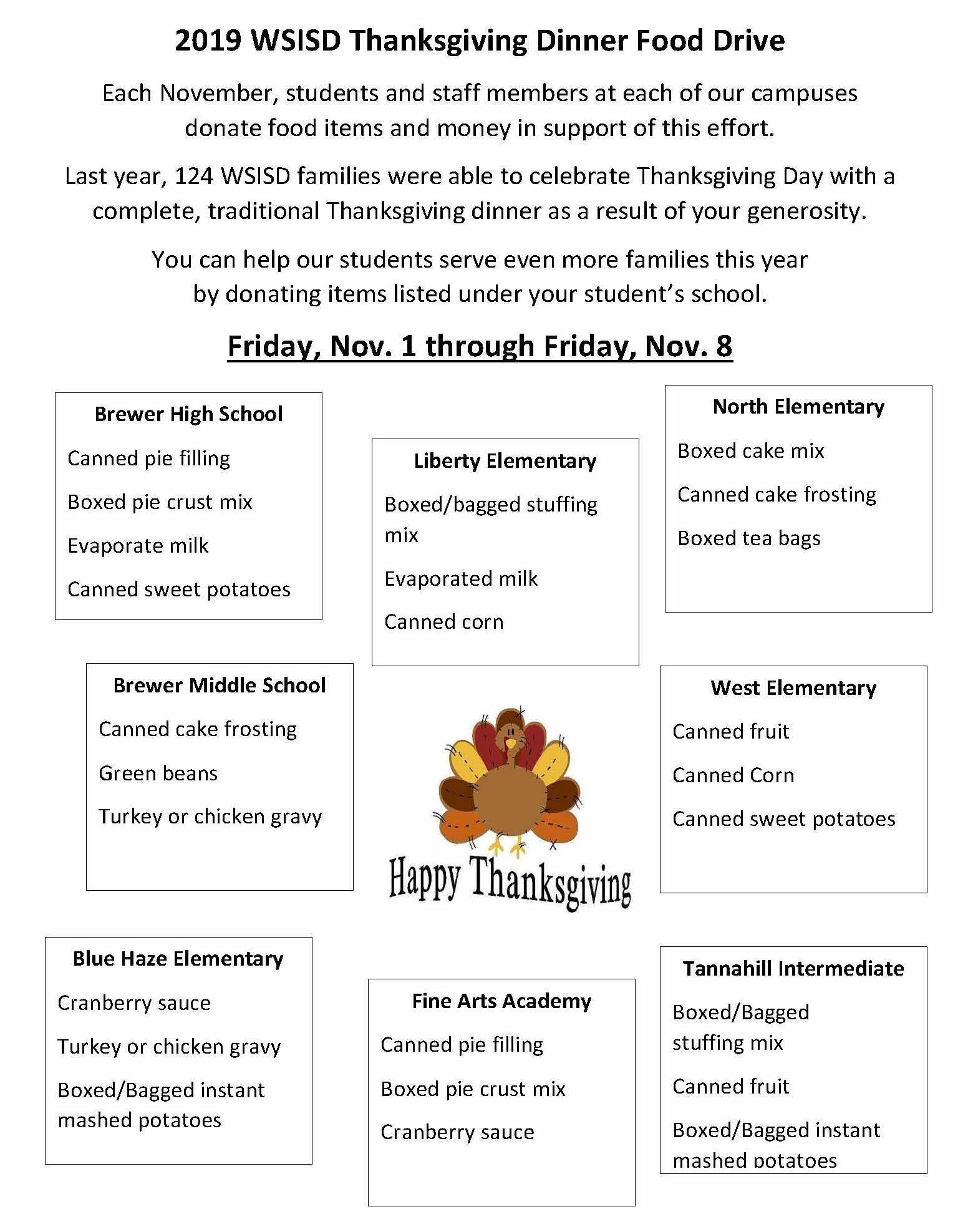 WSISD Thanksgiving Food Drive Nov. 1-8