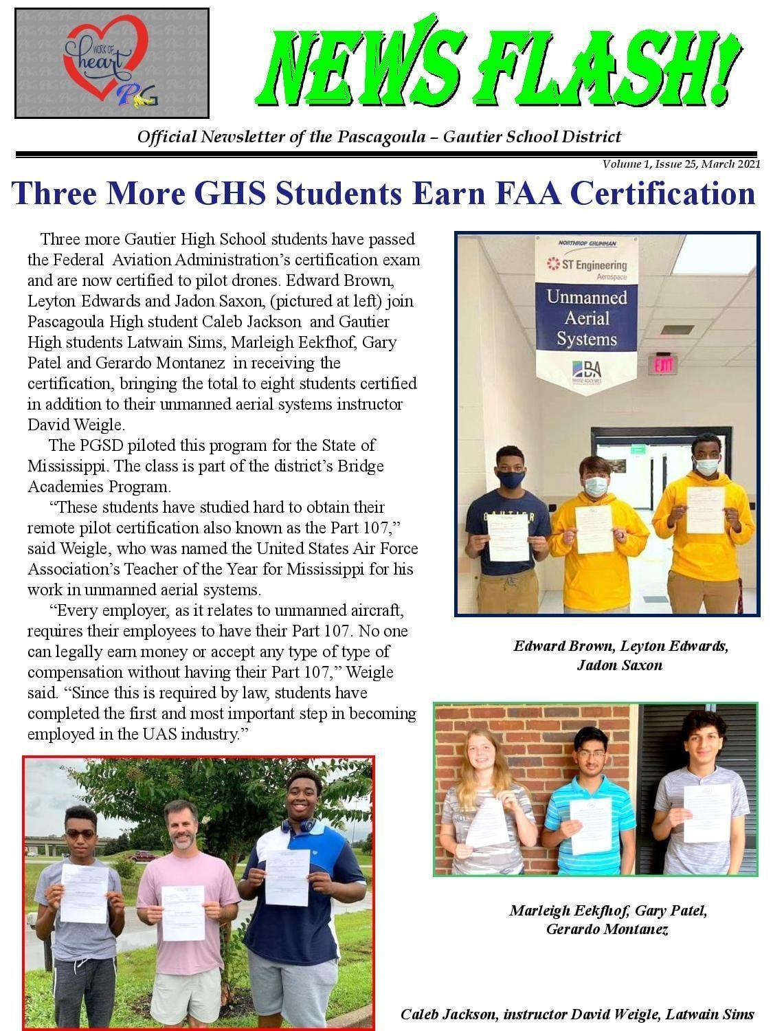 3 More PGSD Students Earn FAA Certification