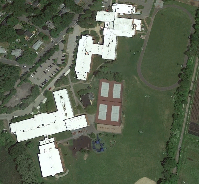 Google Maps view of the school complex.