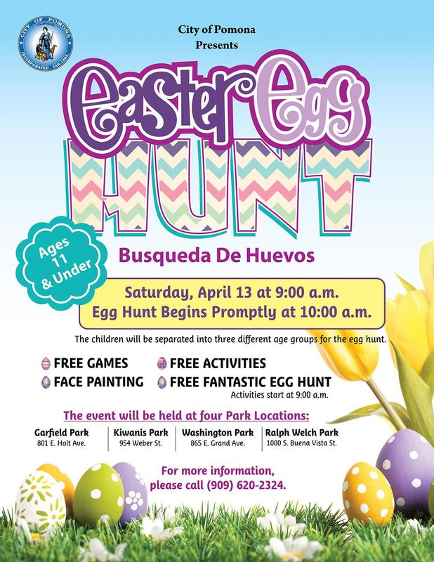 The City of Pomona will be hosting a FREE community event at 4 different parks in Pomona, CA. It begins at 9:00 AM and includes free games, activities, and a fantastic egg hunt! The egg hunt will begin promptly at 10:00 AM, so don't miss out! #proud2bePUSD