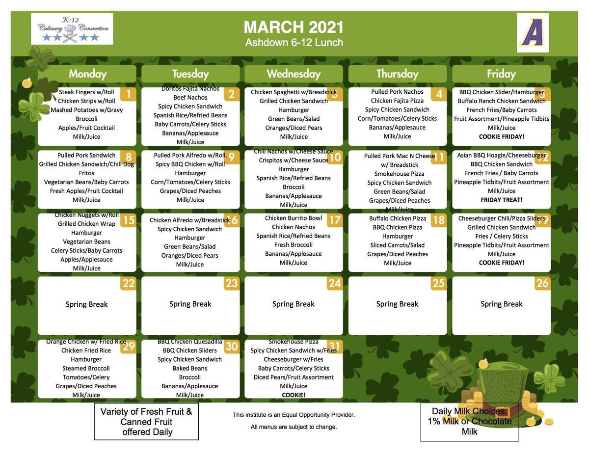 March 6-12 Lunch Menu