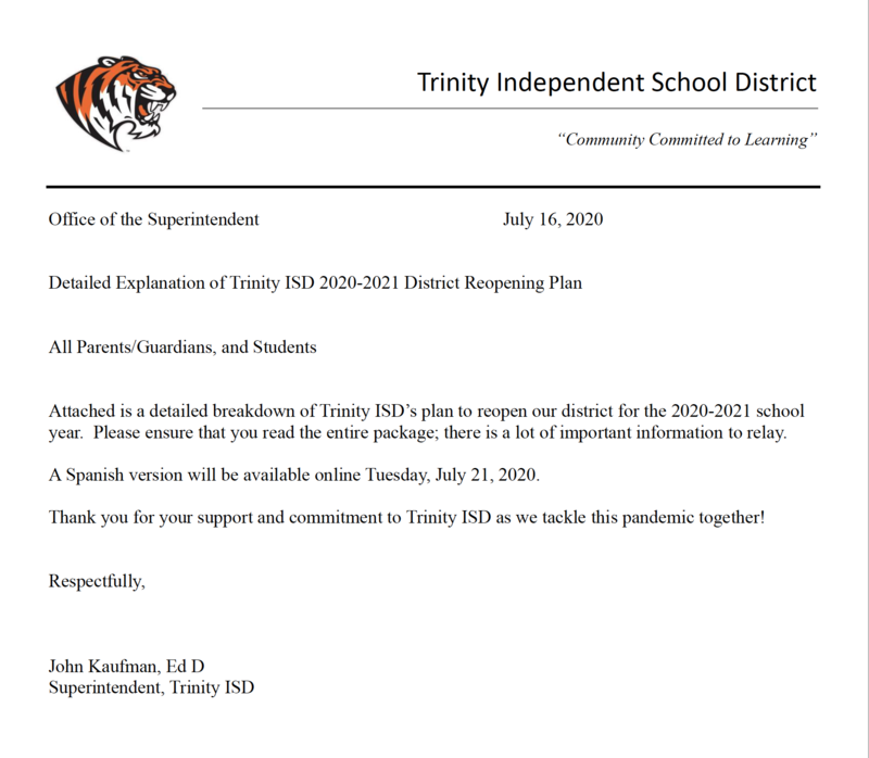 Updated 8-11: Dr. Kaufman's Detailed Plan for Reopening Trinity ISD! Thumbnail Image