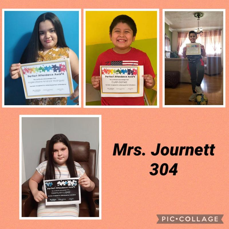 Room 304 Perfect attendance students collage