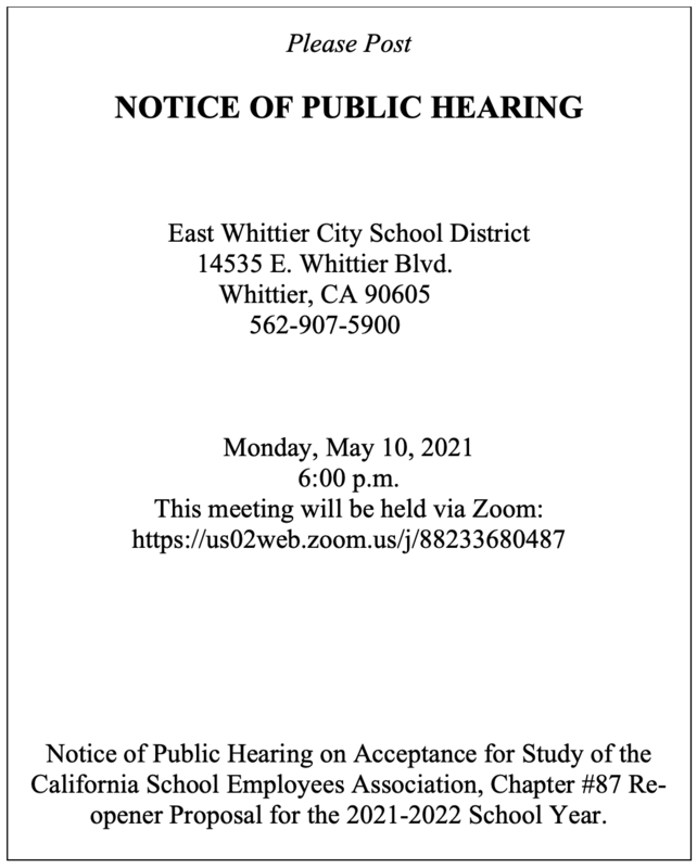 Screenshot of Public Notice