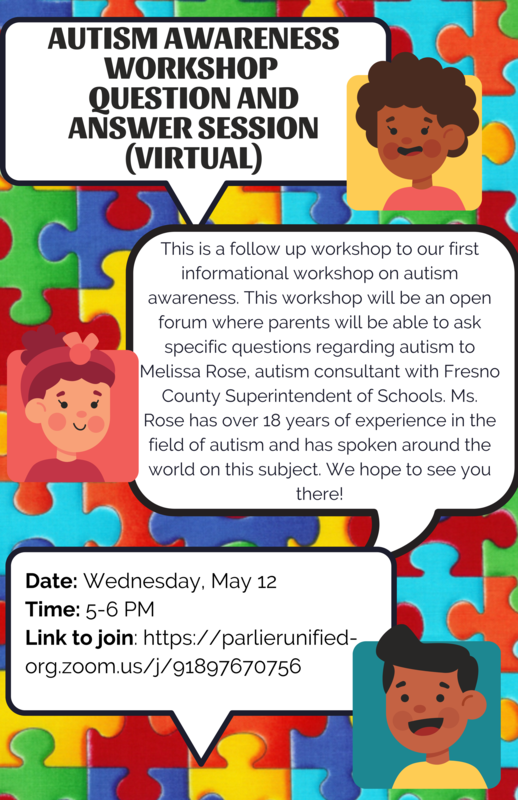AUTISM AWARENESS WORKSHOP- QUESTION & ANSWER (Virtual) Featured Photo