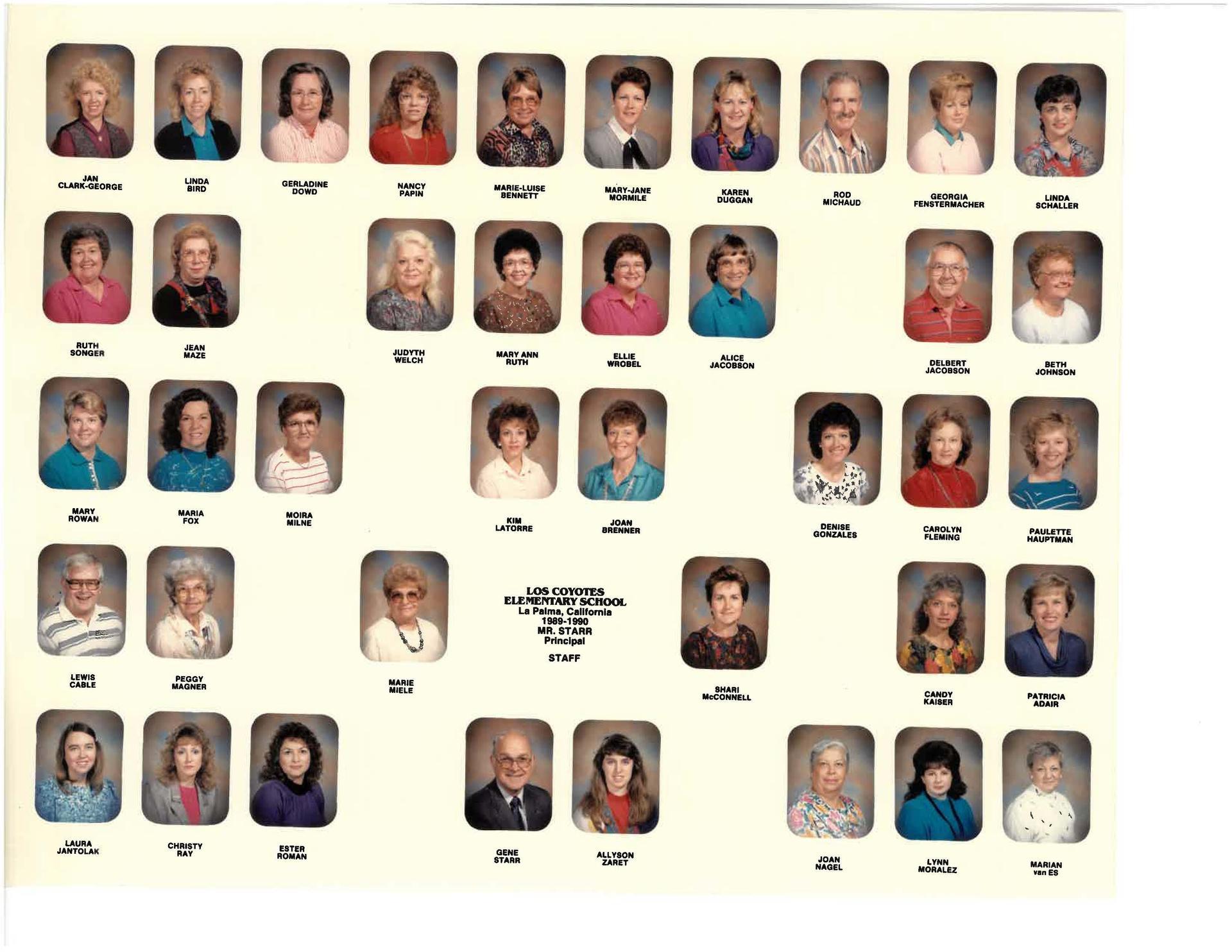 Los Coyotes Staff in 1990