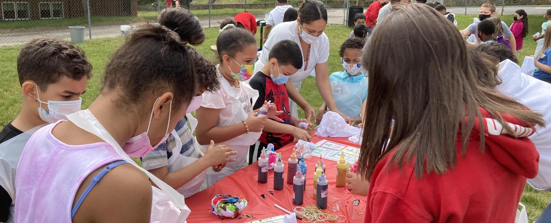 Students at West Street School have a fun tie-dye event as a part of a PBIS reward