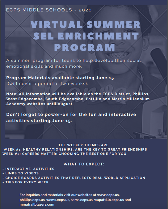 Check out our district's SEL (Social Emotional Learning) Enrichment program for the summer! Featured Photo