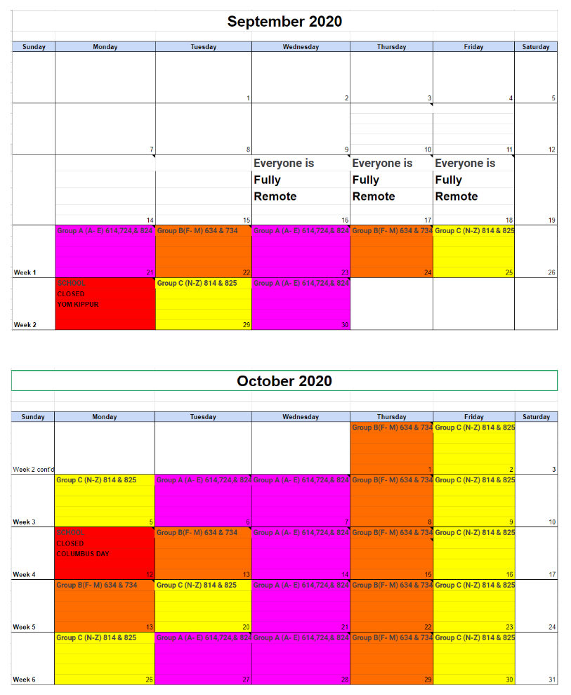Student Groups and School Calendar for September and October Photo