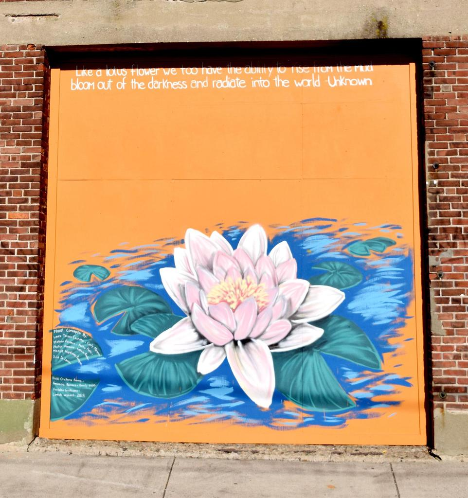 A large mural of a lotus flower, with a bright orange background
