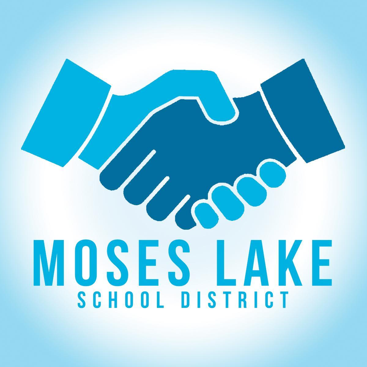 Hands shaking over Moses Lake School District text.