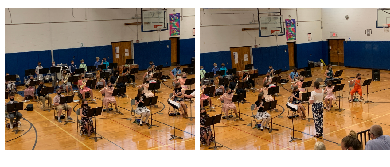 5th grade band students performing in the gym