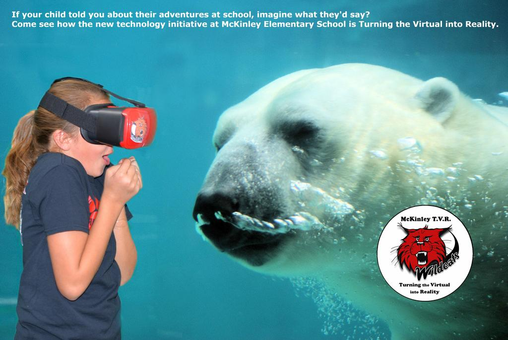 Chloe face to face with polar bear in VR experience.