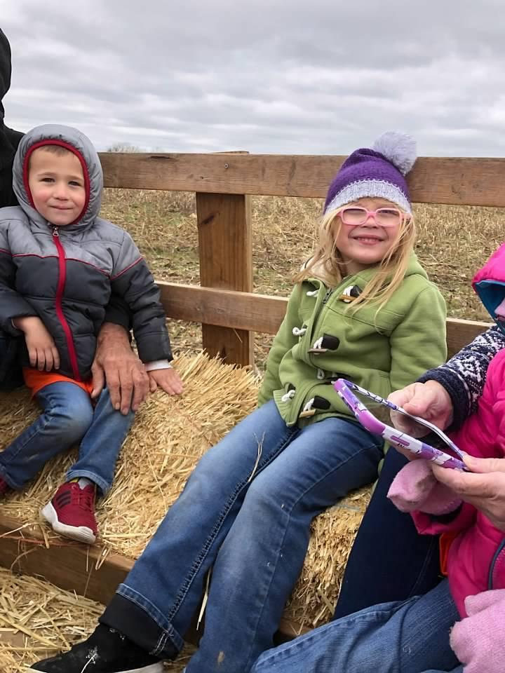 Students on hayride at Stickley Farms