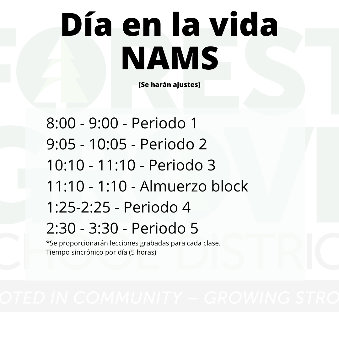 NAMS Schedule