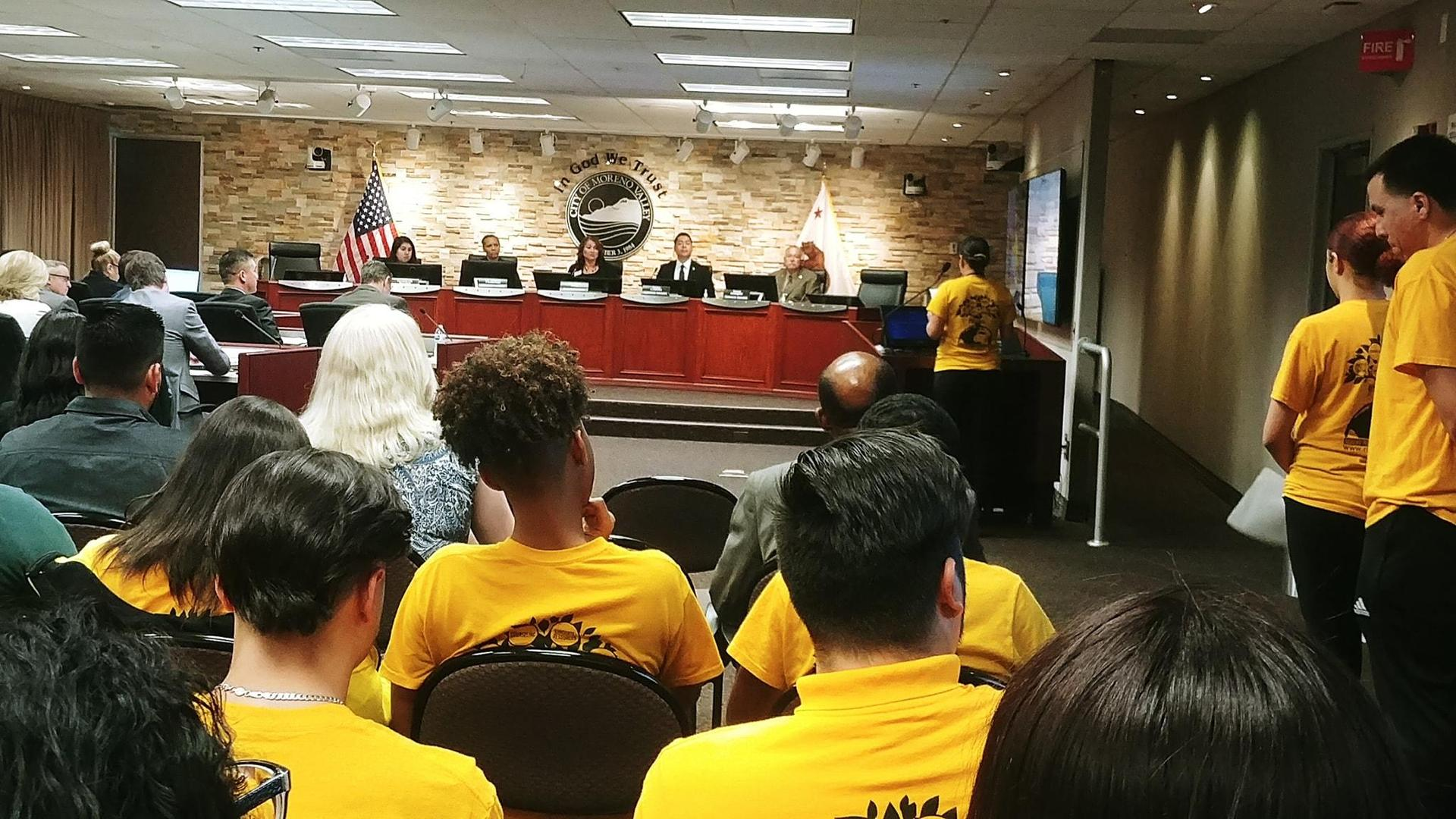 Moreno Valley students present at a city council meeting