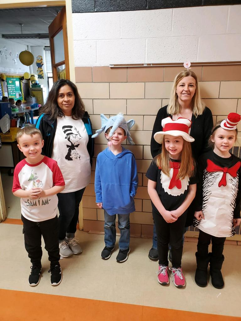 Teachers and students dressed for Dr. Seuss day